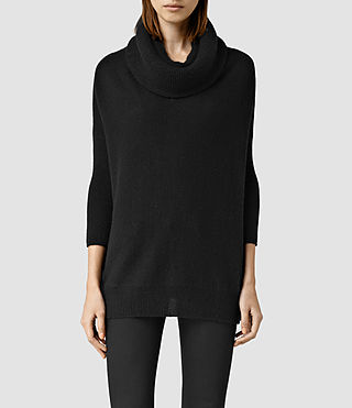 Womens Tiff Cashmere Sweater (Black) - product_image_alt_text_1