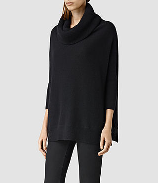 Womens Tiff Cashmere Sweater (Black) - product_image_alt_text_2