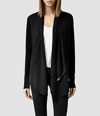 Womens Drina Kandi Cardigan (Black) - product_image_alt_text_1