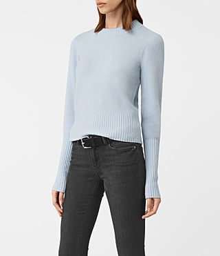 Women's Alpha Crew Neck Jumper (Powder Blue) - product_image_alt_text_3
