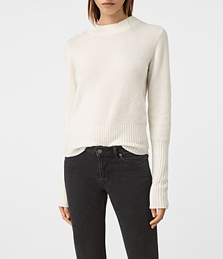 Womens Alpha Crew Neck Sweater (Chalk White) - product_image_alt_text_1