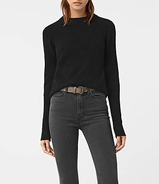 Damen Alpha Crew Neck Jumper (Black)