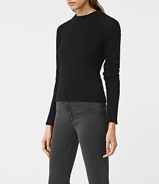 Womens Alpha Crew Neck Sweater (Black) - product_image_alt_text_3