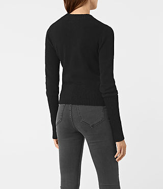 Womens Alpha Crew Neck Sweater (Black) - product_image_alt_text_4
