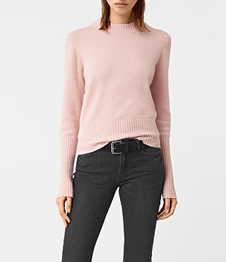Damen Alpha Crew Neck Jumper (Powder Pink) -