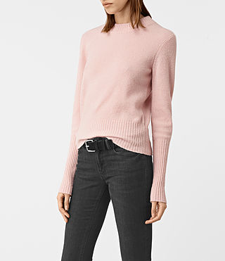 Damen Alpha Crew Neck Jumper (Powder Pink) - product_image_alt_text_3