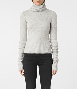 Femmes Alpha Roll Neck Jumper (Mist Marl) -