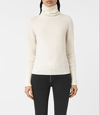 Mujer Alpha Roll Neck Jumper (Chalk White) -