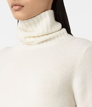 Women's Alpha Roll Neck Jumper (Chalk White) - product_image_alt_text_2