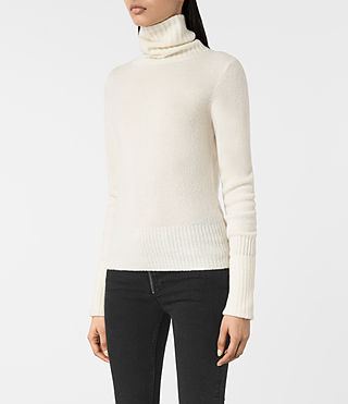 Mujer Alpha Roll Neck Sweater (Chalk White) - product_image_alt_text_3