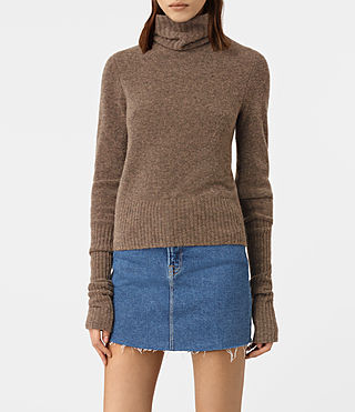 Damen Alpha Roll Neck Jumper (ALPACA BROWN) -