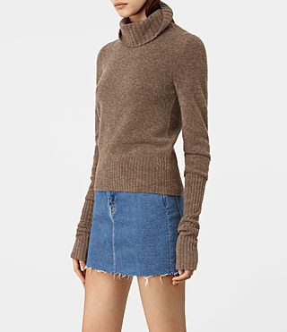 Damen Alpha Roll Neck Jumper (ALPACA BROWN) - product_image_alt_text_2