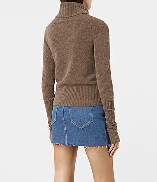 Damen Alpha Roll Neck Jumper (ALPACA BROWN) - product_image_alt_text_3