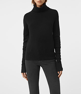 Femmes Alpha Roll Neck Jumper (Black)