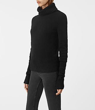 Womens Alpha Roll Neck Sweater (Black) - product_image_alt_text_2