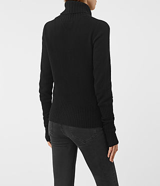 Damen Alpha Roll Neck Jumper (Black) - product_image_alt_text_3