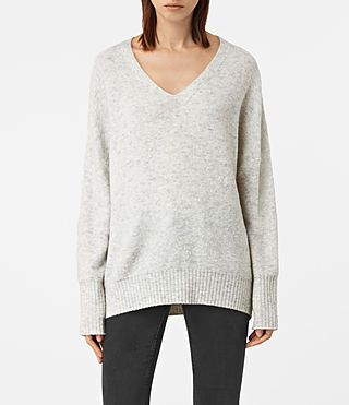 Women's Alpha V-Neck Jumper (Mist Marl)