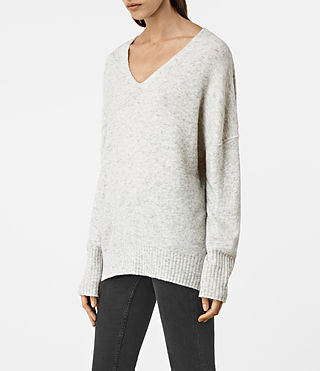 Womens Alpha V-Neck Sweater (Mist Marl) - product_image_alt_text_2