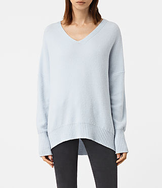Mujer Alpha V-Neck Sweater (Powder Blue) - product_image_alt_text_1
