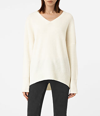 Mujer Alpha V-Neck Sweater (Chalk White) - product_image_alt_text_1