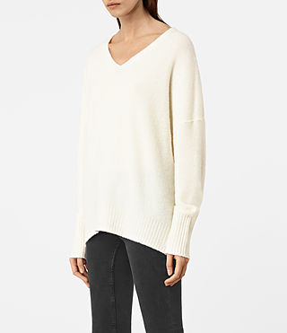 Mujer Alpha V-Neck Sweater (Chalk White) - product_image_alt_text_2