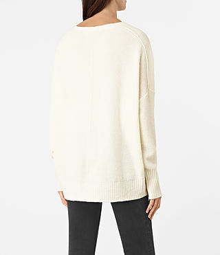 Mujer Alpha V-Neck Sweater (Chalk White) - product_image_alt_text_3