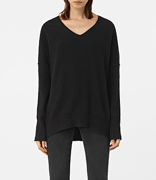 Womens Alpha V-Neck Sweater (Black) - product_image_alt_text_1