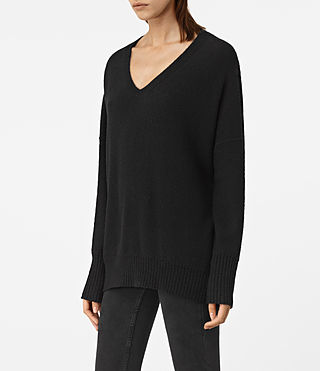 Womens Alpha V-Neck Sweater (Black) - product_image_alt_text_2