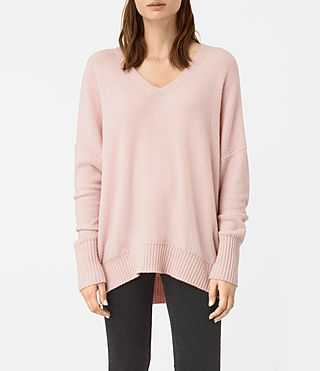 Womens Alpha V-Neck Sweater (Powder Pink) - product_image_alt_text_1