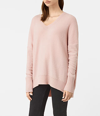 Damen Alpha V-Neck Jumper (Powder Pink) - product_image_alt_text_3