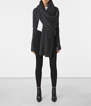 Damen Popcorn Wrap Cardigan (Charcoal Grey)