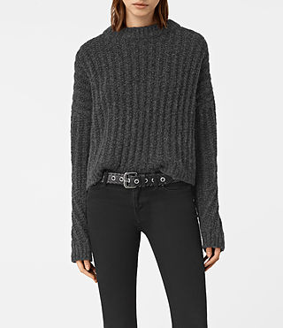 Damen Popcorn Crew Neck Jumper (Charcoal Grey) -
