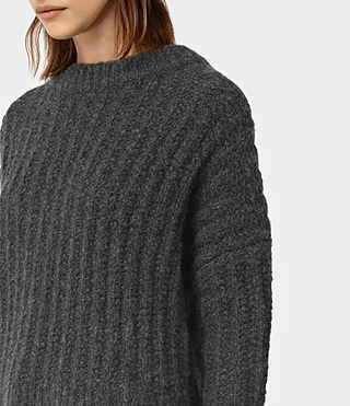 Damen Popcorn Crew Neck Jumper (Charcoal Grey) - product_image_alt_text_2