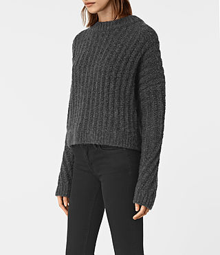Damen Popcorn Crew Neck Jumper (Charcoal Grey) - product_image_alt_text_3