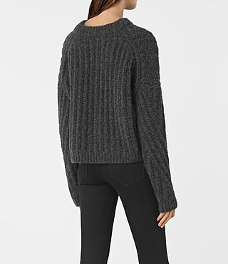 Damen Popcorn Crew Neck Jumper (Charcoal Grey) - product_image_alt_text_4