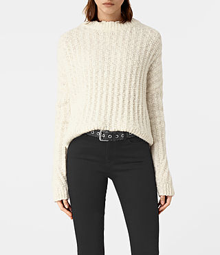 Damen Popcorn Crew Neck Jumper (Chalk White) -
