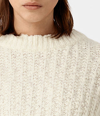 Damen Popcorn Crew Neck Jumper (Chalk White) - product_image_alt_text_2