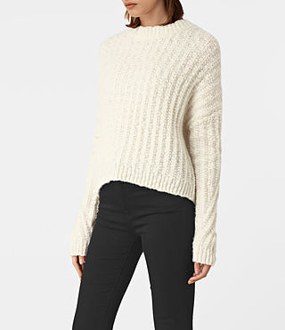 Damen Popcorn Crew Neck Jumper (Chalk White) - product_image_alt_text_3