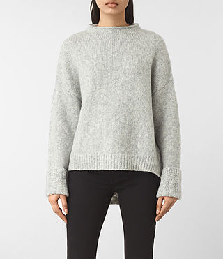 Women's Popcorn Funnel Neck Jumper (Grey Marl) -