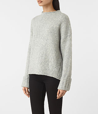 Womens Popcorn Funnel Neck Sweater (Grey Marl) - product_image_alt_text_2