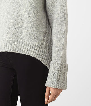 Womens Popcorn Funnel Neck Sweater (Grey Marl) - product_image_alt_text_3