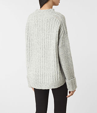 Womens Popcorn Funnel Neck Sweater (Grey Marl) - product_image_alt_text_4