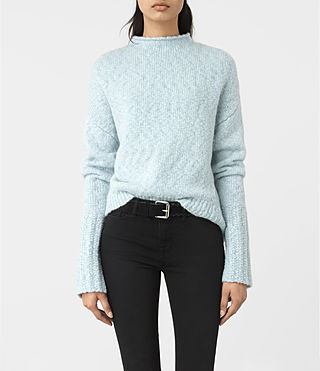Mujer Popcorn Funnel Neck Jumper (Powder Blue)
