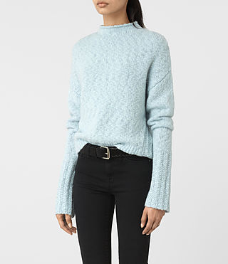 Womens Popcorn Funnel Neck Sweater (Powder Blue) - product_image_alt_text_2