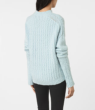 Mujer Popcorn Funnel Neck Sweater (Powder Blue) - product_image_alt_text_3