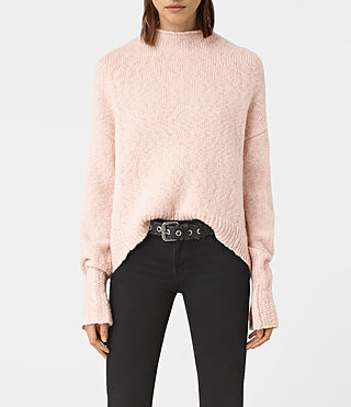Womens Popcorn Funnel Neck Sweater (Powder Pink)