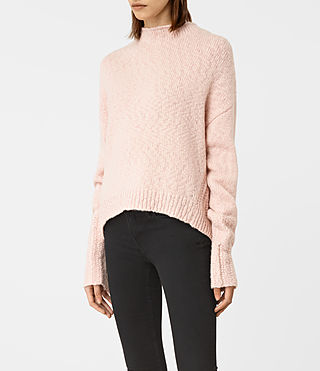 Women's Popcorn Funnel Neck Jumper (Powder Pink) - product_image_alt_text_2