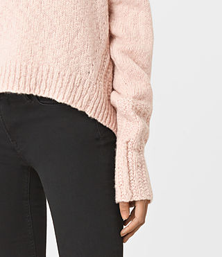 Womens Popcorn Funnel Neck Sweater (Powder Pink) - product_image_alt_text_3
