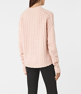 Womens Popcorn Funnel Neck Sweater (Powder Pink) - product_image_alt_text_4