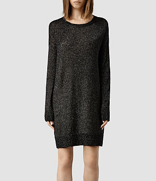 Womens Agnes Jumper Dress (Black/ Gold)